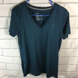 Nike Dri-Fit Womens Top Size Large SS Green V-neck